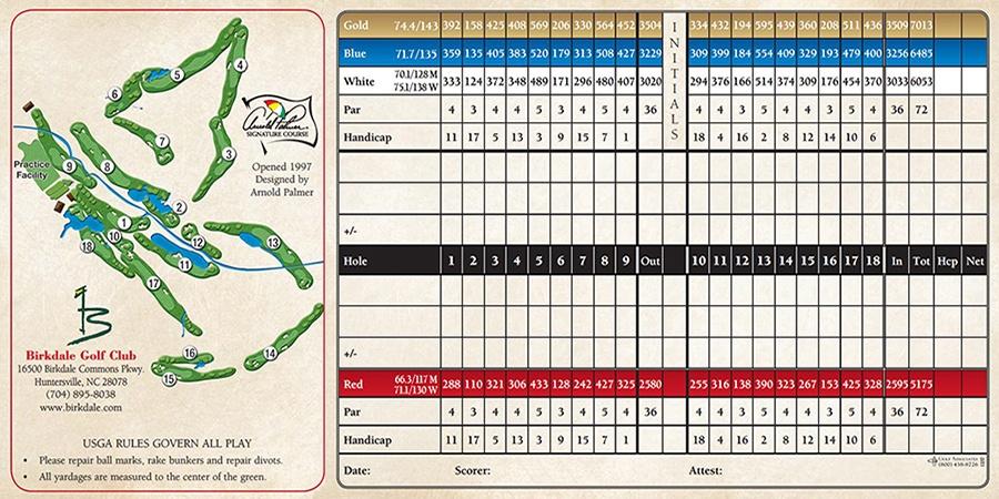 11+ Birkdale golf card info